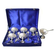 Dekor World Silver Plated Ice Cream SetWith Spoon  Set Of 6 Pair