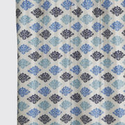 Damask Printed Blue Fabric by Dekor World  (MORE COLOR)