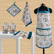 Elegant Floral Printed Apron-Set of 6 Pcs by Dekor World