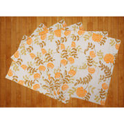 Floral Orange Cotton Printed Place Mat (Pack of 6) by Dekor World