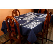 Dekor World Ikat Printed Blue Table Cover With Place Mat (Pack of 5)