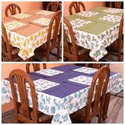 Floral Printed Plain Table Cover With Place Mat (More Color & Size)
