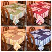 Stripe Printed Table Cover With Place Mat & Napkin (More Color & Size)