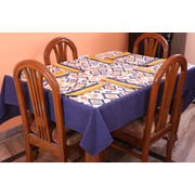 Multi Printed Blue Table Cover With Place Mat (More Size)