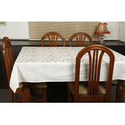 Dekor World Gold Printed White Table Cover
