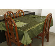 Dekor World Squence Tissue Green Table Cover Set (Pack of 5)