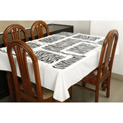 Dekor World Animal Printed White Table Cover Set (Pack of 5)