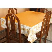 Dekor World Floral  Printed Orange Table Cover (Pack of 1)