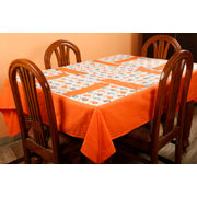 Dekor World Bird Printed Orange Table Cover With Place Mat (Pack of 5)
