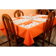 Dekor World Bird Printed Orange Table Cover With Place Mat & Napkin (Pack of 13)