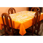 Dekor World Abstract Printed Orange Table Cover (Pack of 1)