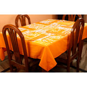 Dekor World Abstract Printed Orange Table Cover With Place Mat (Pack of 5)