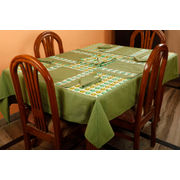 Dekor World Owl Printed Green Table Cover With Place Mat & Napkin (Pack of 13)