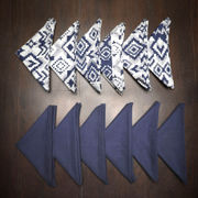 Ikat Plain Printed Blue Napkin Set (Pack of 12)By Dekor World