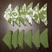 Floral Plain Printed Green Napkin Set (Pack of 12)By Dekor World