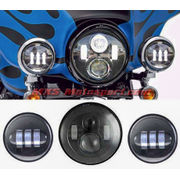 MXSHL449 LED Monster Projector Headlight + Side Auxiliary Lamps (COMBO) Harley Motorcycle