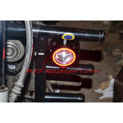 MXSORL144 Projector Fog Lights Angel Eye Halo Ring + Red Demon Eye Strobe Royal Enfield Bullet