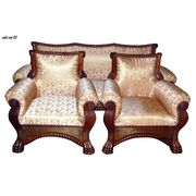 Wooden 5 Seater Sofa Set Brass Inlay