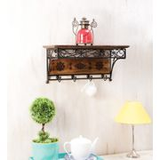 Onlineshoppee Wood & Wrought Iron Fancy Wall Bracket/Book Rack Wall Shelf With Coat Hanger