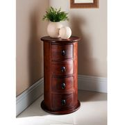 Onlineshoppee Solid Wood Round Chest Of 4 Drawers Size-lxbxh-15x15x27 Inch