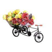 Wooden and Iron Big Flower Stand, Fruits Stand, Miniature Rickshaw