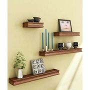 Onlineshoppee Beautiful Wooden Brown Rectangular Wooden Wall Shelf