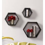 Onlineshoppee Fancy Set of 3 Hexagonal Shape MDF Wall Shelf Big Size ( 10.5 x 4x 10.5) inch Color- Black