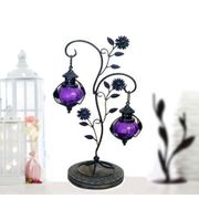 Wooden & Iron Tree Shaped Candle Holding Lamp Blue