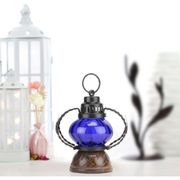Wooden & Iron hand carved Colored Electric Chimney Lantern design ~ BLUE