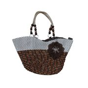 Brown Handbags With Beads Handle