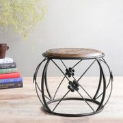 Wooden & Wrought Iron Stool Cum Side Table