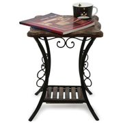 Onlineshoppee Wood & Iron Handmade Design End Table Size(LxBxH-12x12x16) Inch