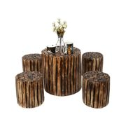 Onlineshoppee Bloque De Madera Wooden Round Coffee Table With 4 Stool