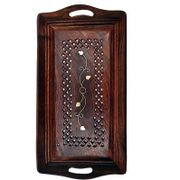 Wooden Premium Quality Serving Tray With Hand Carved Design