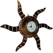 Onlineshoppee Wooden Antique Rising Sun Analog Wall Clock