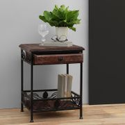 Onlineshoppee Wooden And Iron End Table Walnut And Black Size(LxBxH-14.5x14.5x19) Inch