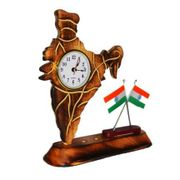 Wooden Clock With Indian Flag