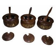 Wooden Tea Coffee Sugar Bowls & Free 3 Tea Spoons