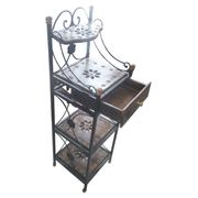 Wooden & Wrought Iron Rack with drawer