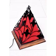 Onlineshoppee Contemporary Wooden & Wrought Iron Lamp Handmade Antique Look - Red