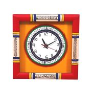 Red Yellow Handcrafted Wall Clock