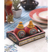 Terracota Red Salt n Pepper Tray Set