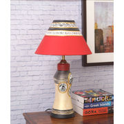 Gold Terracotta Lamp with Red Shade