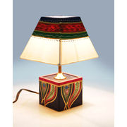 Blue Dhokra Wooden Lamp