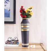 Handmade Black Taper terracotta Vase