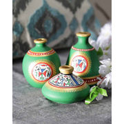 Handpainted Green Terracotta Pots Set