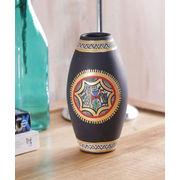Black Terracotta Handpainted Vase