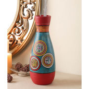 Hand Painted Blue Warli Terracotta 10 Inch Vase