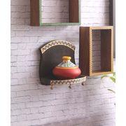 Handmade Wooden Single Wall Shelf with Red Earthen Pot