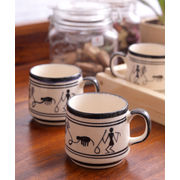 Monochrome Warli Ceramic Cups Set